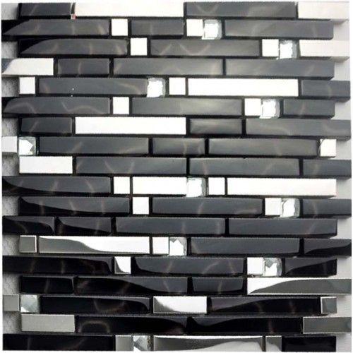 black and silver metal glass mosaic sheets crystal diamond tile rh pinterest com