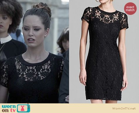 Olivia's black lace dress at Miranda's funeral on Ravenswood. Outfit Details: http://wornontv.net/21983 #Ravenswood