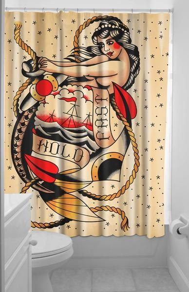Drop Anchor And Hold Fast This Sourpuss Shower Curtain Features