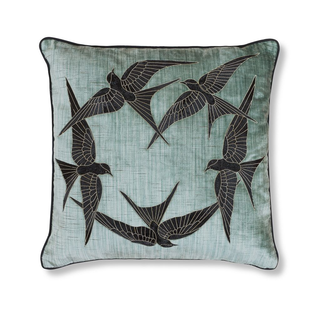 Elvira Couture Cushion on Como - Teal. By Beaumont & Fletcher. As seen at Decorex 2016.