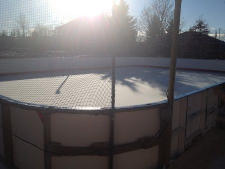 Backyard ice rink. Portable refrigerated ice rink with dasher boards - Backyard Ice Rink. Portable Refrigerated Ice Rink With Dasher Boards