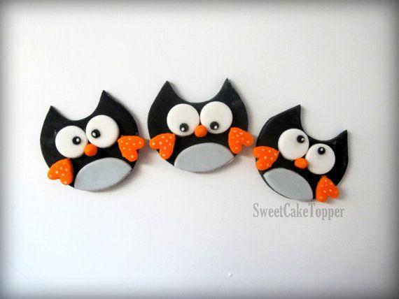 Owl Fondant Cupcake Topper - Handmade Edible Cupcake Toppers - 12 Pcs via Etsy
