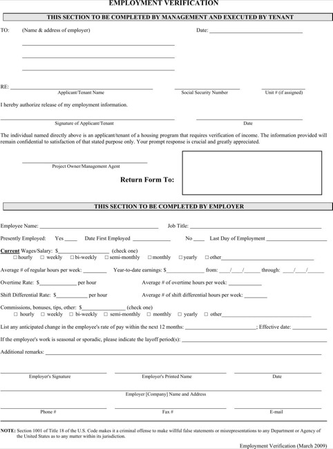 Employment Verification Form  TemplatesForms