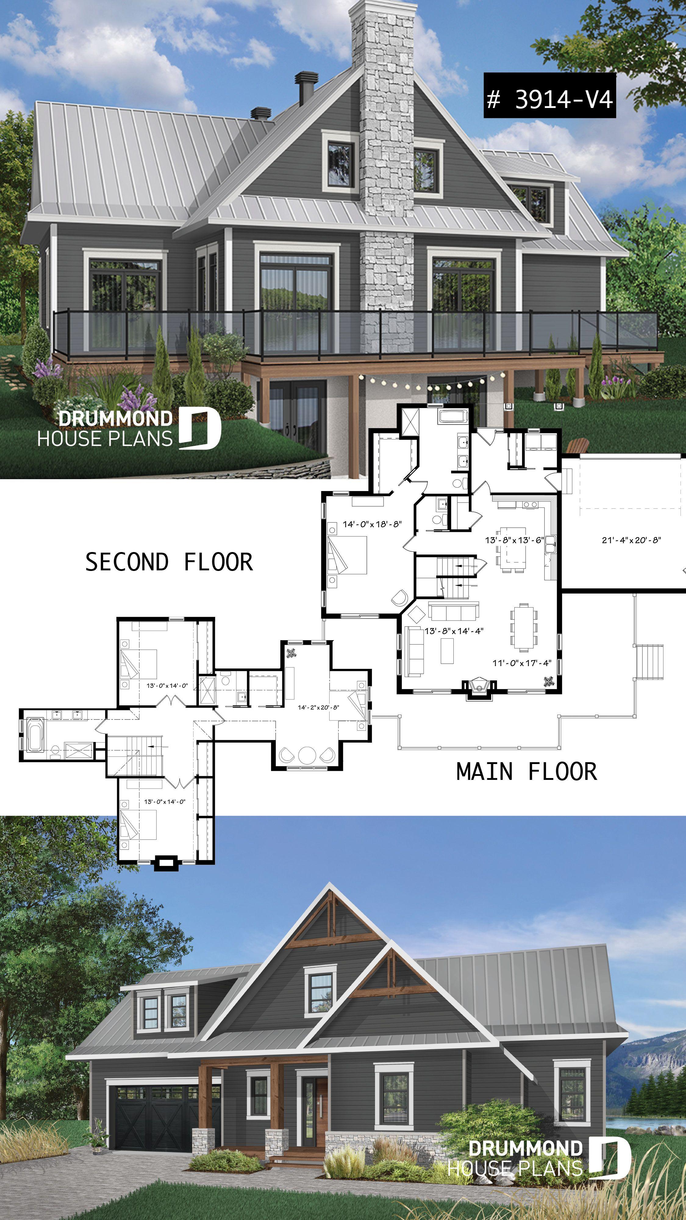 Houseplans with 2 master bedrooms   bedroom lakefront cottage including  master suites double garage