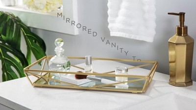 Large Geometric Mirrored Vanity Tray Gold Home Details In 2020 Vanity Tray Vanity Mirror Geometric