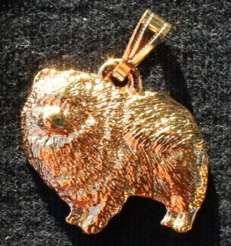 Pomeranian Dog 24k Gold Plated Pewter Pendant *** Click on the image for additional details.