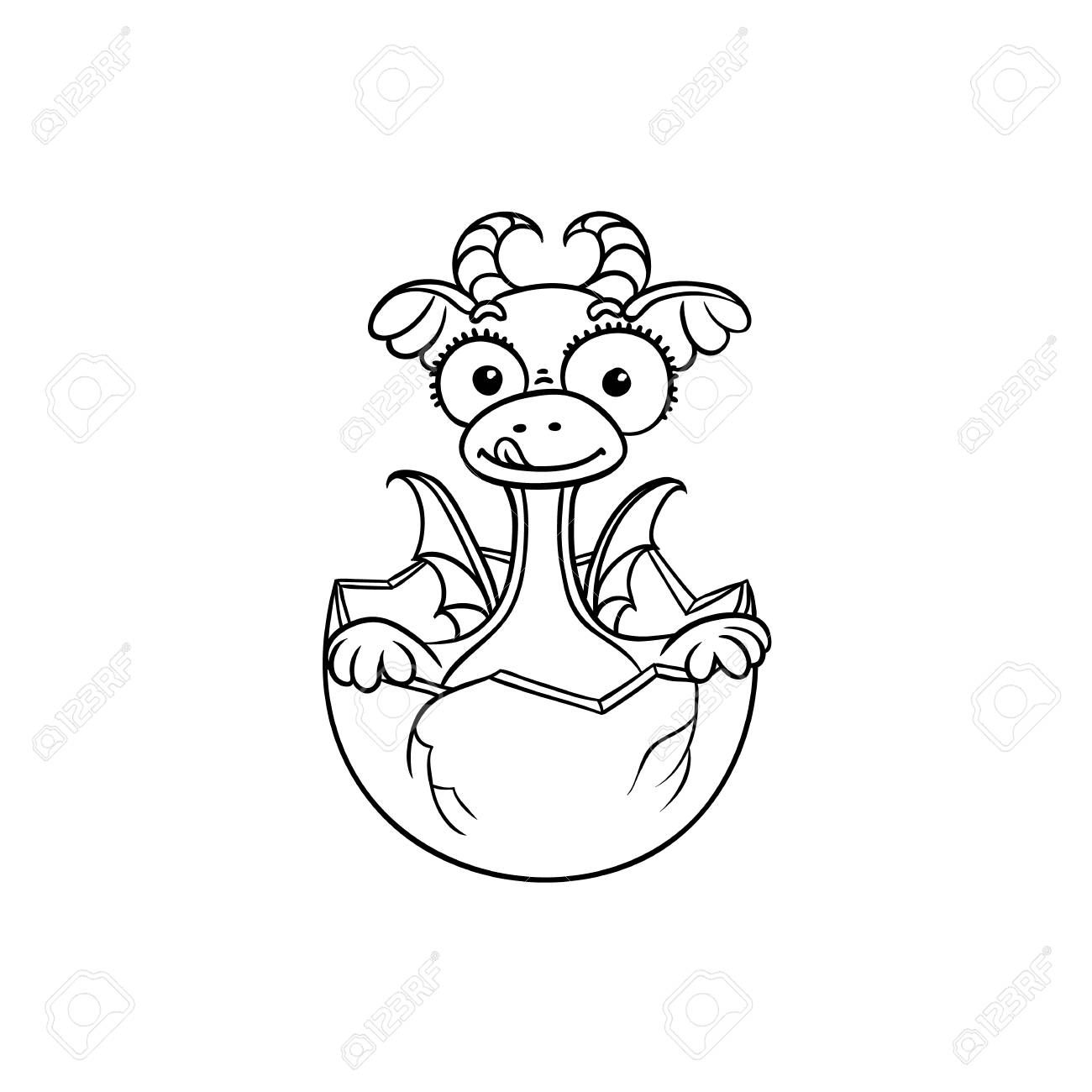 vector flat cartoon funny dragon kid, baby with horns and