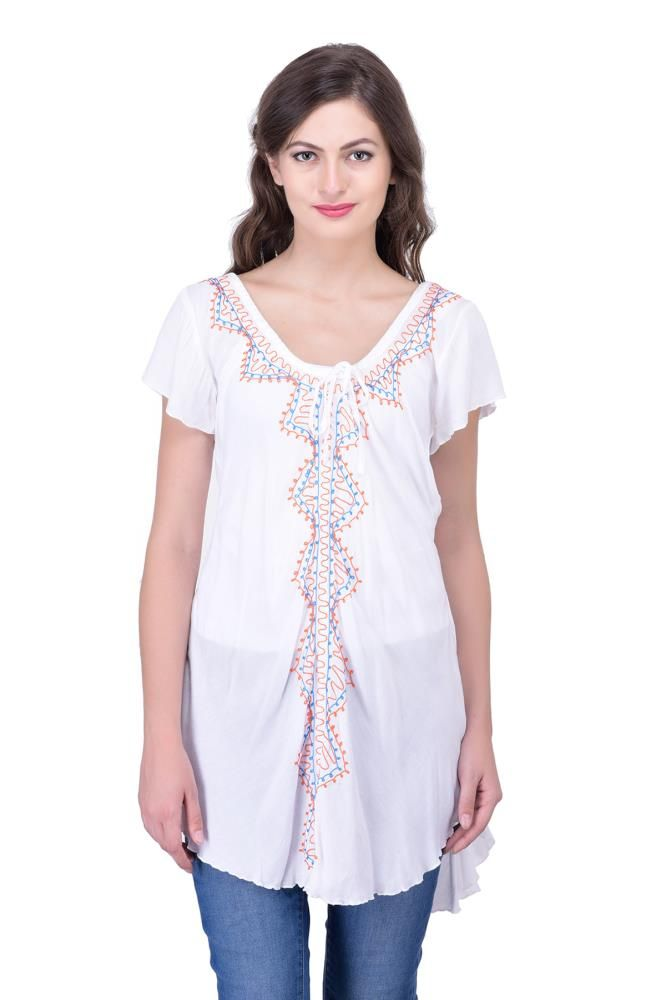 70e6e7f4d4168 Buy White Embroidered For Womens Party Wear Beachwear Tunic Tops Tunics for Women  Online India