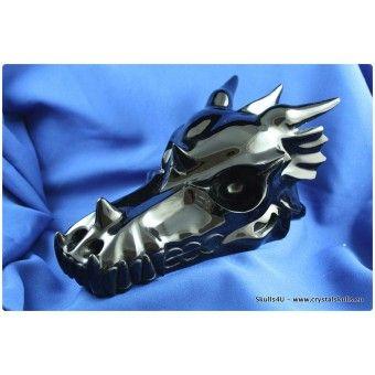 Dragon Skulls : Black obsidian dragon skull 25 cm