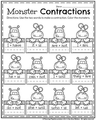 First Grade Worksheets for October - Monster Contractions.