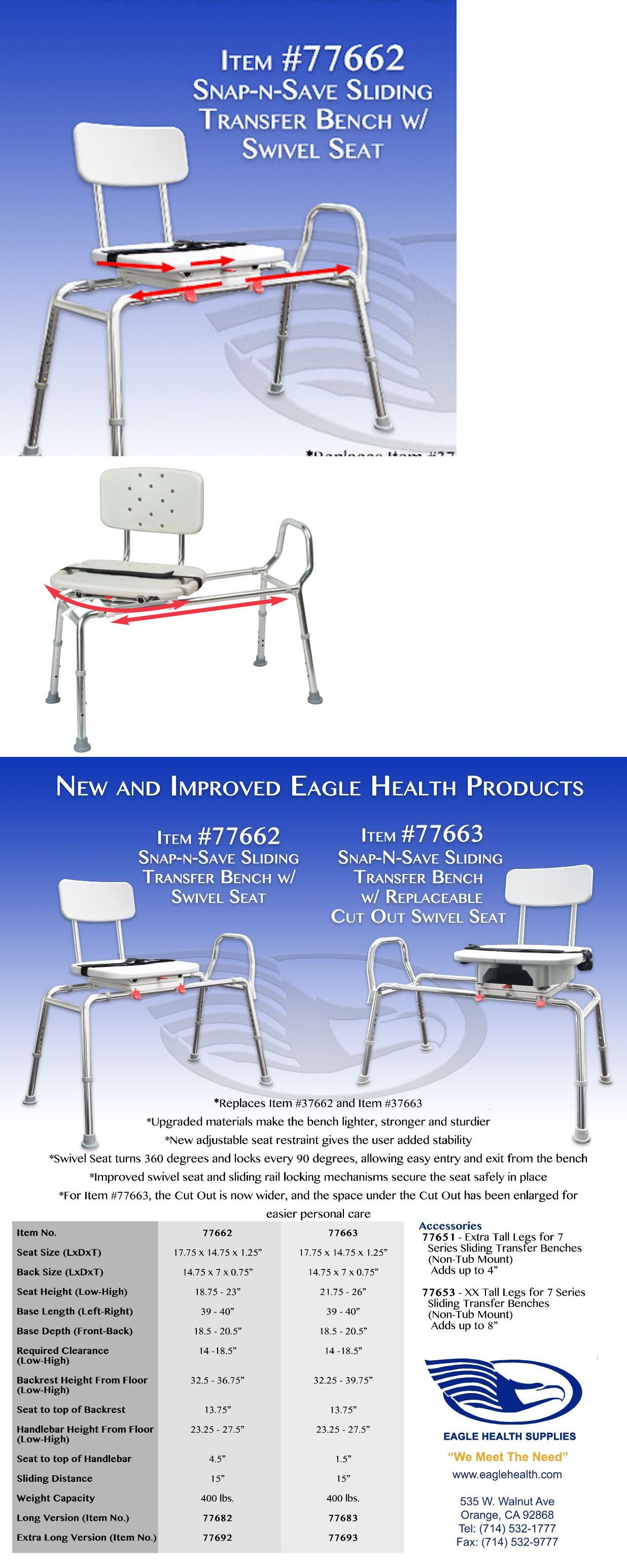 Transfer Boards and Benches: Eagle Healthcare 77662 Swivel Seat ...