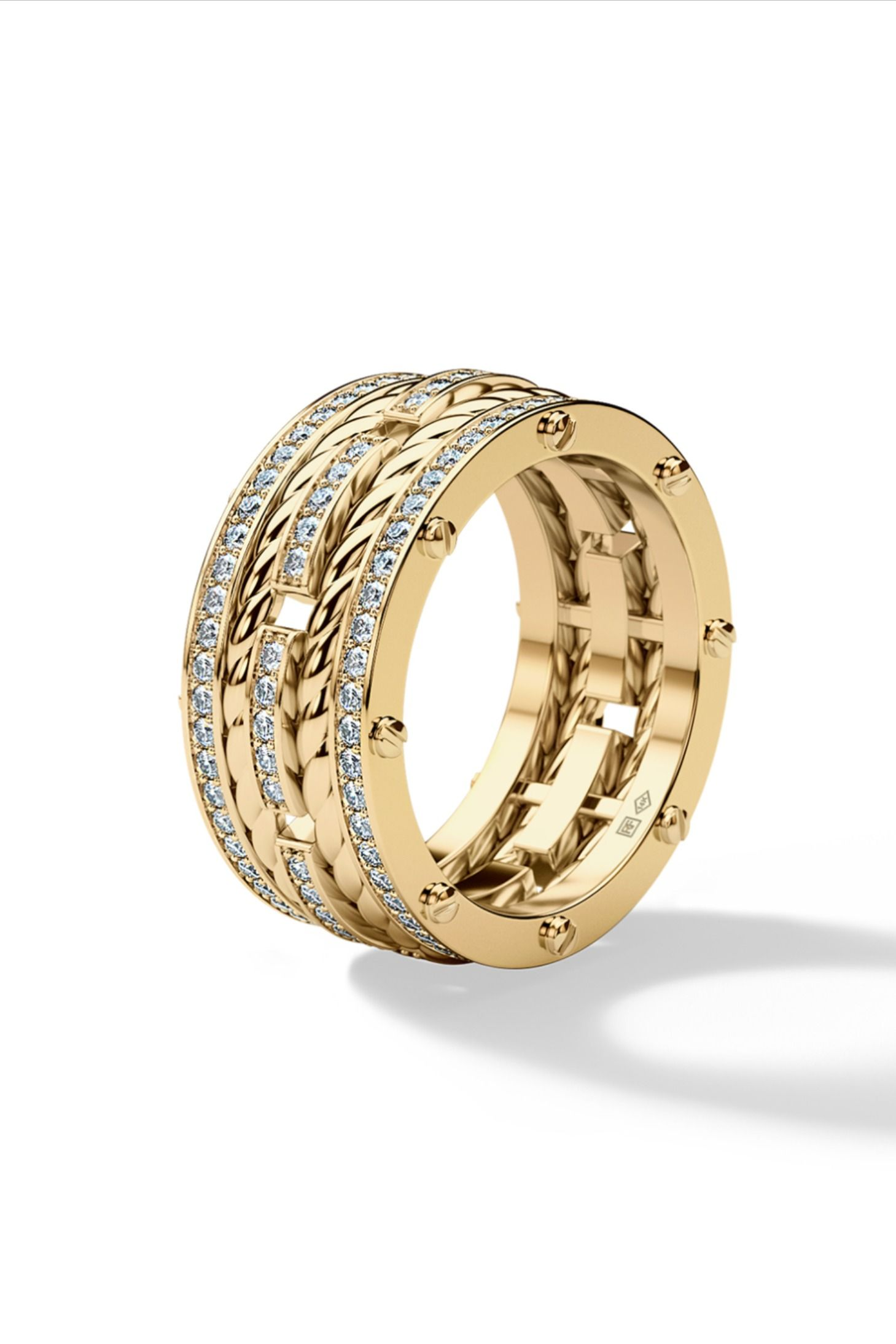ROPES Mens Gold Wedding Band with Diamonds in 2020 Mens