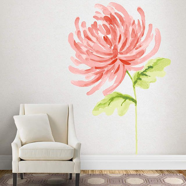 watercolor chrysanthemum wall decals are an easy decor solution from