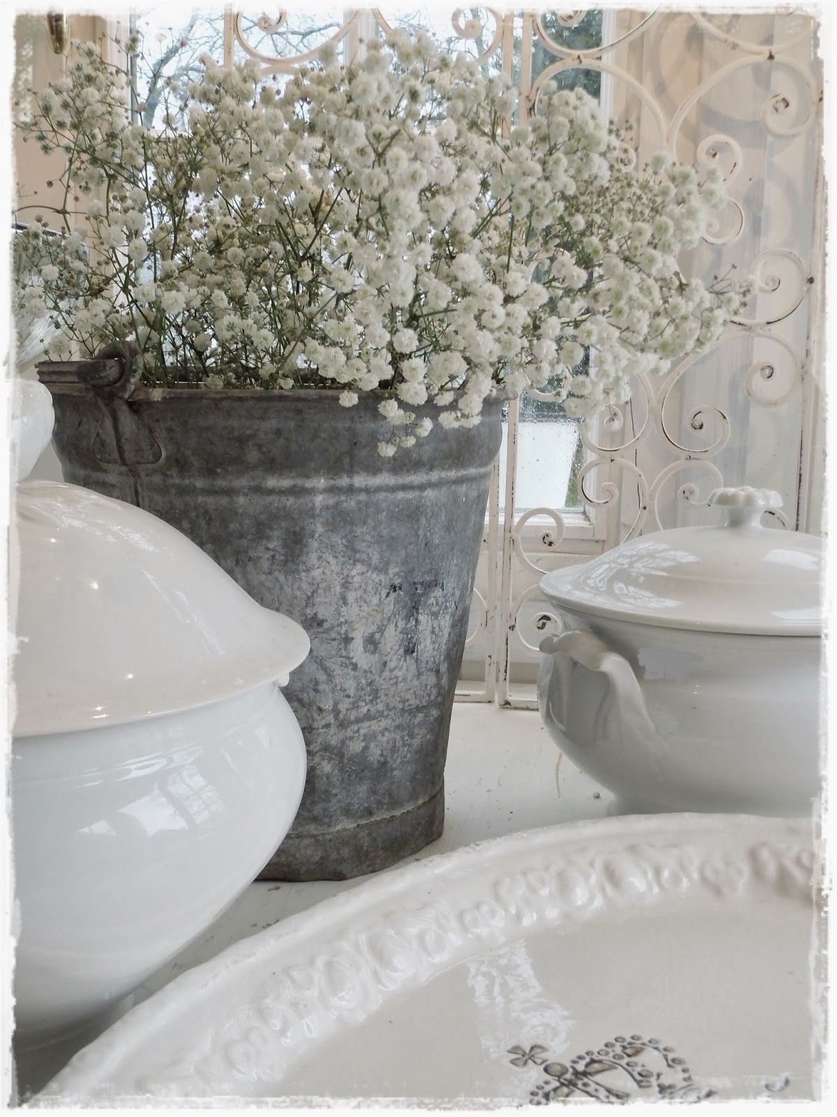 Ironstone even looks good with a galvanized pail!! I love ironstone!