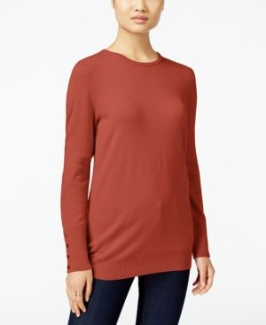 Jm Collection Petite Crew-Neck Sweater, Only at Macy's - Orange P/XL