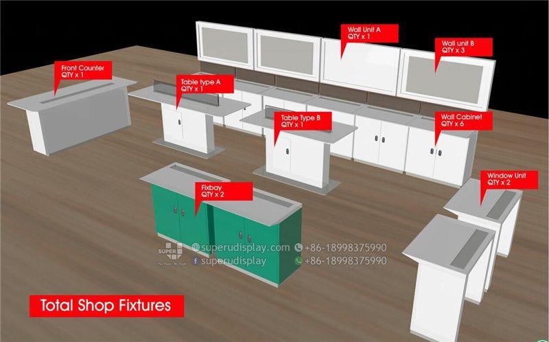 Mesa Con Fixbay Y Cajones Para Tienda De Telefonos Moviles