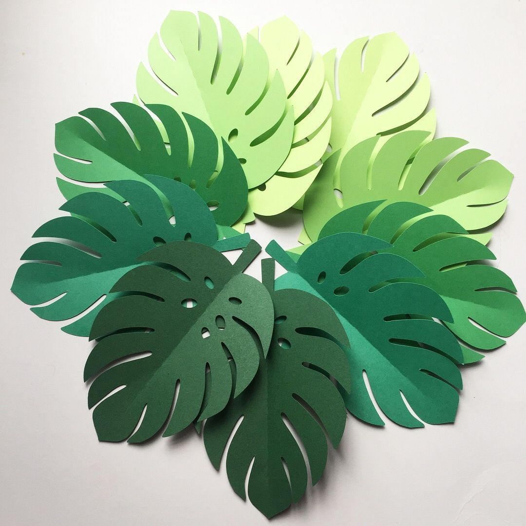 Tropical Leaf shapes. Green ombre safari or jungle leaves ...