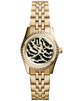 Michael Kors Women's Petite Lexington Gold-Tone Stainless Steel Bracelet Watch 26mm MK3300