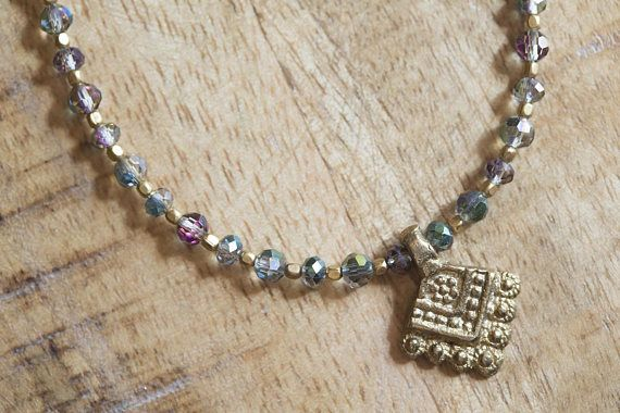 Sparkly Green and Subtle Purple - Indian Brass Necklace