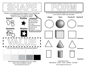 art worksheets for middle school - Google Search | elements and ...