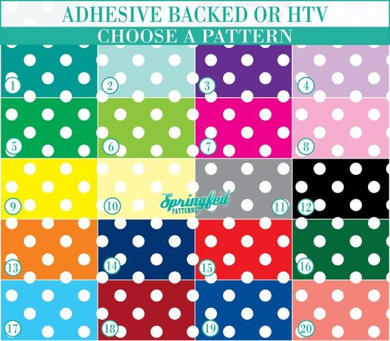 Large Polka Dots Pattern #1 Basic Colors YOUR CHOICE Adhesive or HTV Heat Transfer Vinyl for Shirts