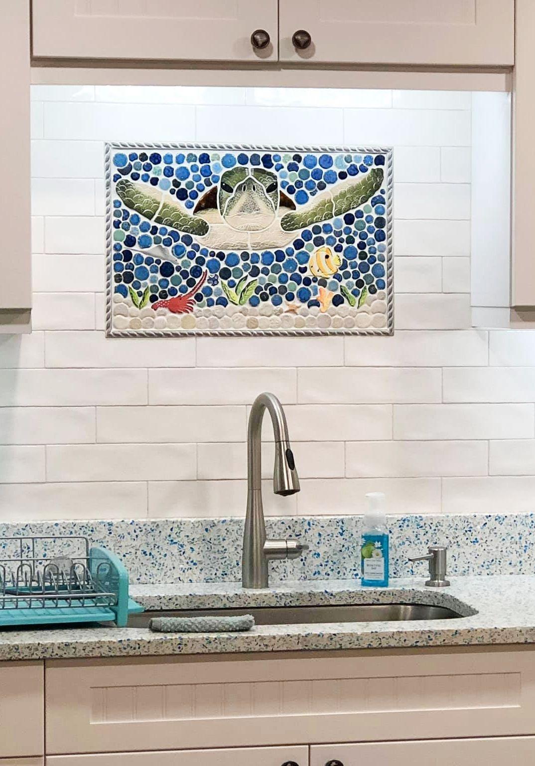Coastal Kitchen Backsplash Ideas With Mosaic Tiles Beach Murals Coastal Kitchen Backsplash Ideas Coastal Kitchen Design Coastal Kitchen Coastal kitchen backsplash ideas