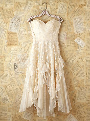 Vintage White Lace Strapless Dress. http://www.freepeople.com ...