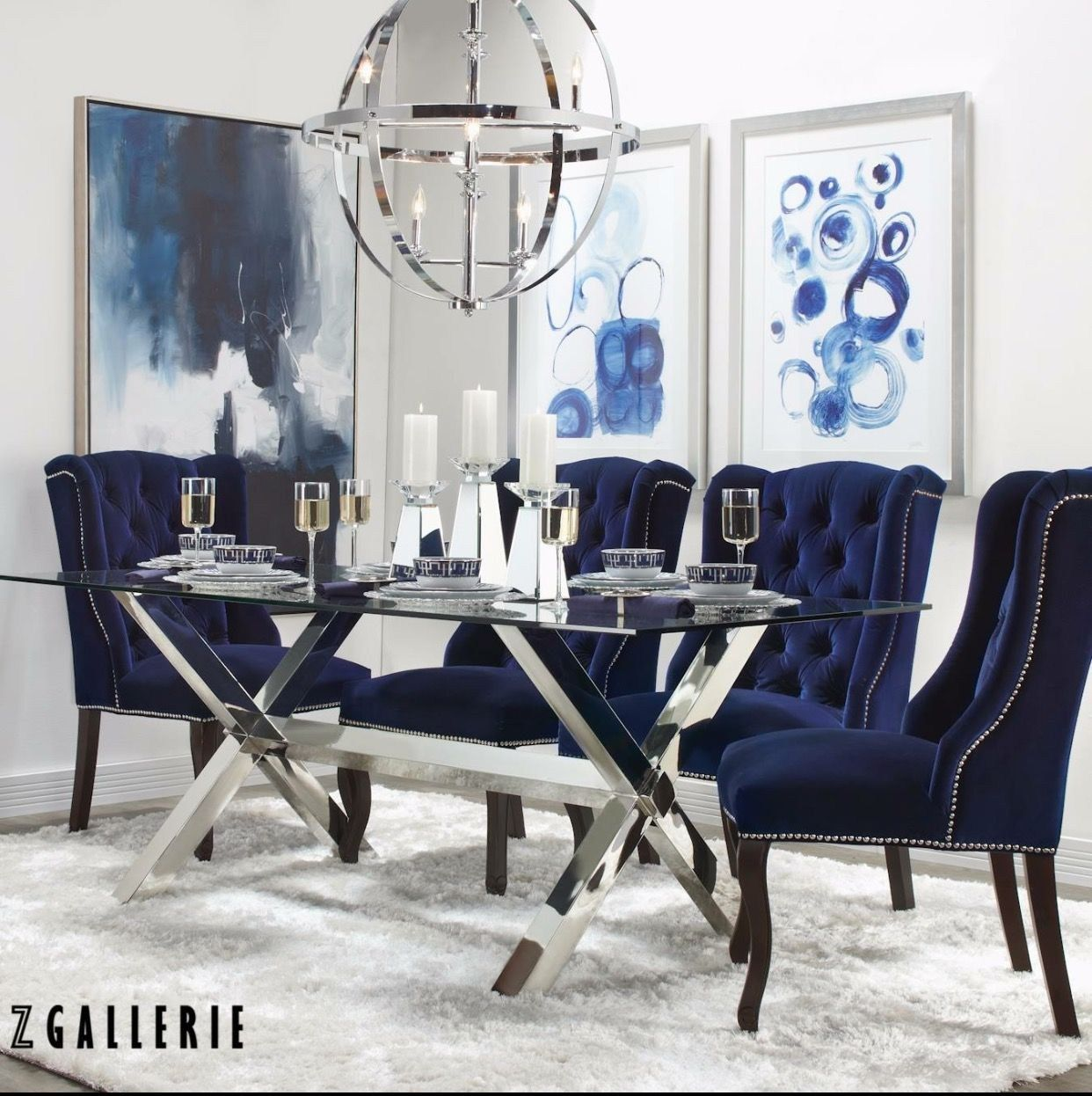 Zgallerie Dining Room Zgallerie Dining Set Blue Tufted Chairs