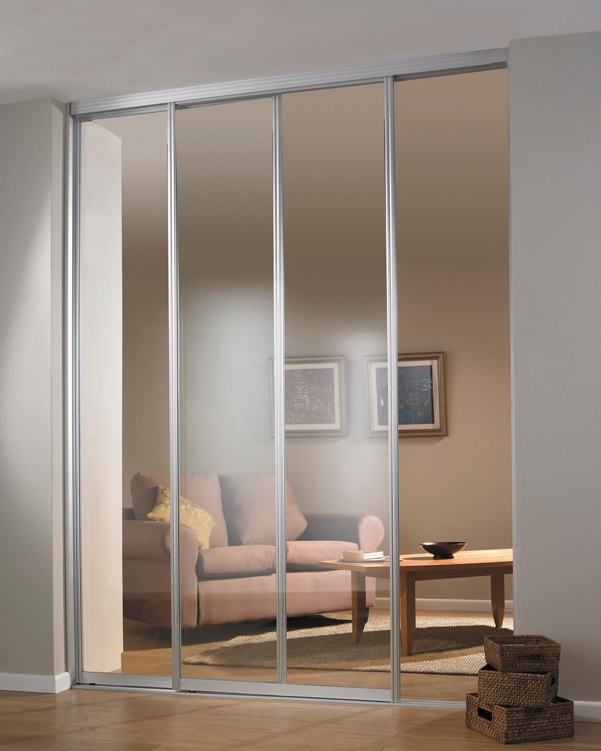 Modern Style Full Lite Clear Glass In Aluminium Agreeable Sliding Room Dividers For Studio Apartments