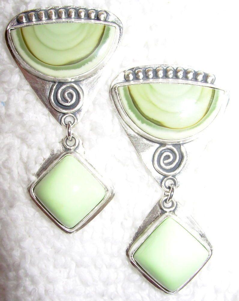 Chelle' Rawlsky royal imperial jasper, citron chrysoprase sterling post earrings #ChelleRawlsky
