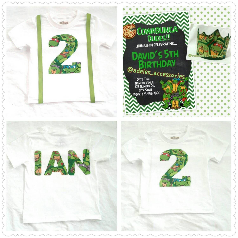 Teenage Mutant Ninja Turtles Birthday Shirt ,Crown and Invitation, TMNT Birthday shirt, Birthday crown, TMNT ,BIRTHDAY invitation - pinned by pin4etsy.com
