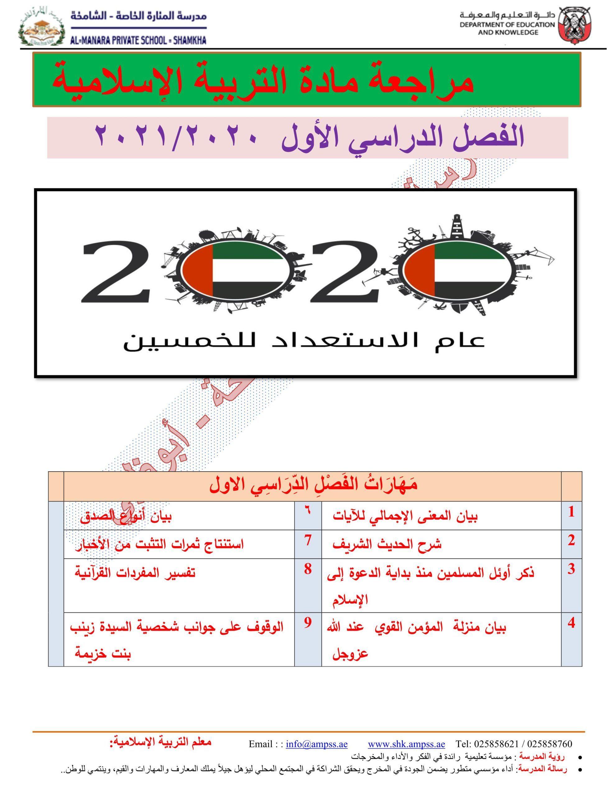 اوراق عمل مراجعة عامة الصف الرابع مادة التربية الاسلامية Private School School Education