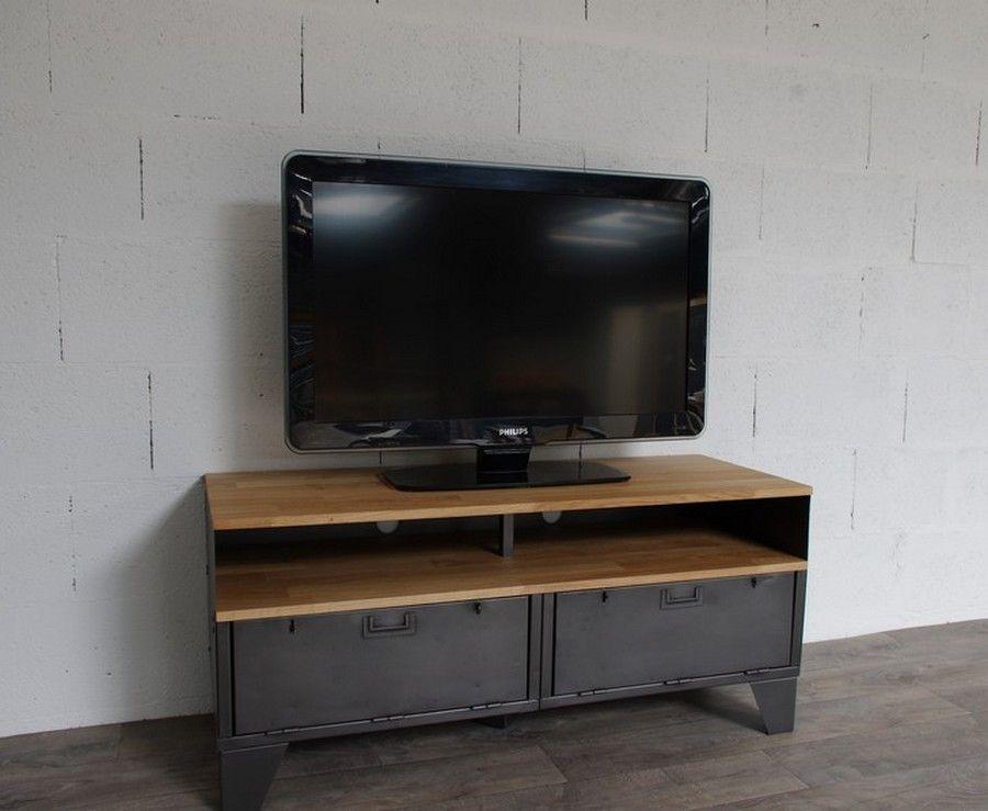 Meuble tv style industriel clapets et niche cr ation restauration de meuble industriel - Restauration meuble industriel ...