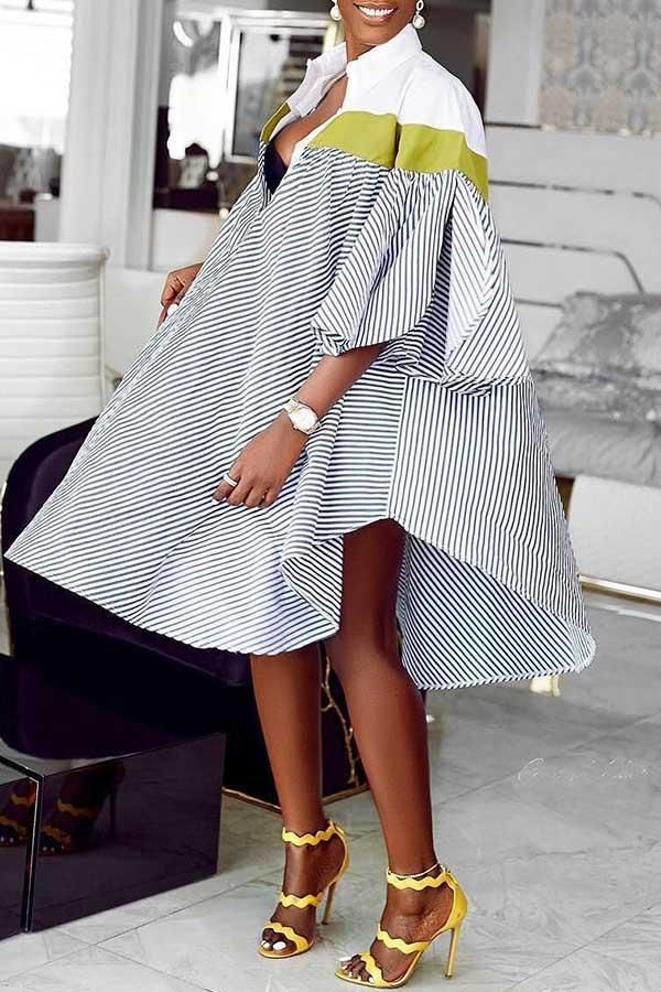 Stripe Plain Shirt Dress #afrikanischefrauen