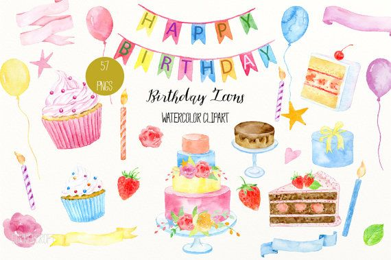 Birthday cake watercolor. Icon clip art with