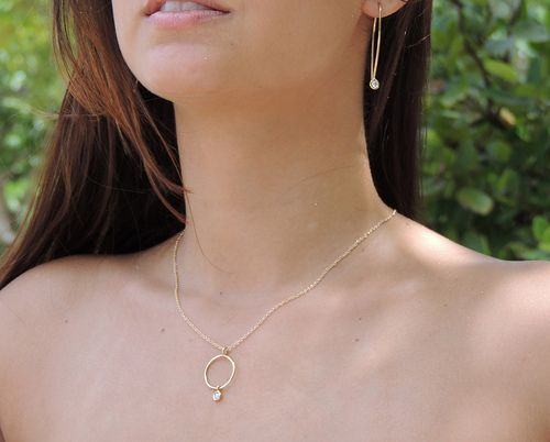 Lunette shimmer drop diamond necklace and Raindrop diamond earrings