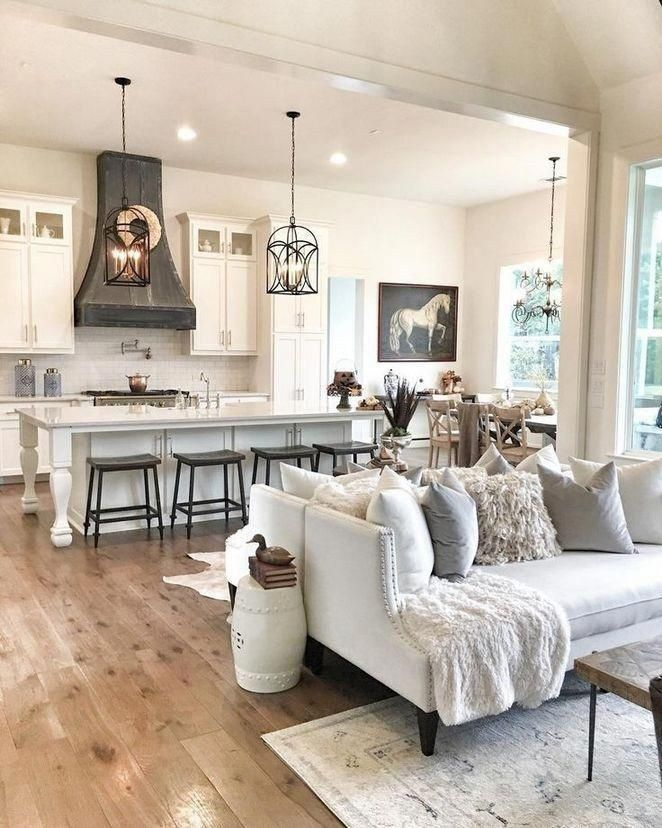 35 Incredible Farmhouse Living Room Design Ideas And Decor 16 Autoblog Dream House Ideas Kitchens Farm House Living Room Open Kitchen And Living Room