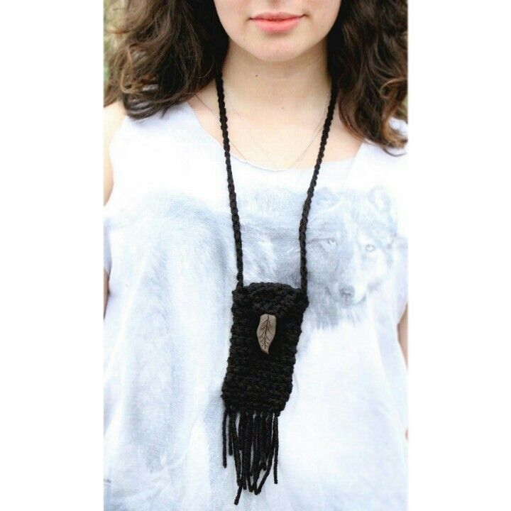 Hand crochet black native American Indian boho hippie gypsy inspired medicine pouch necklace with handcrafted leaf button