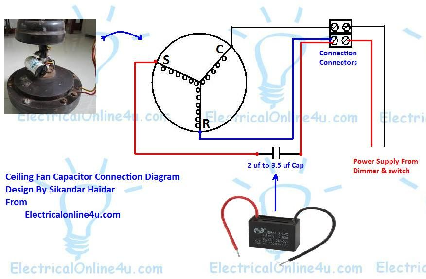 Learn How To Do Ceiling Fan Capacitor Wiring With Diagram Ceiling Fan Wiring Ceiling Fan Ceiling Fan Motor