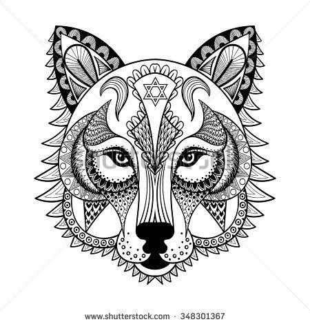 stock vector vector ornamental head of wolf ethnic zentangled mascot rh pinterest com Vector Sonic Coloring Crayon Vector