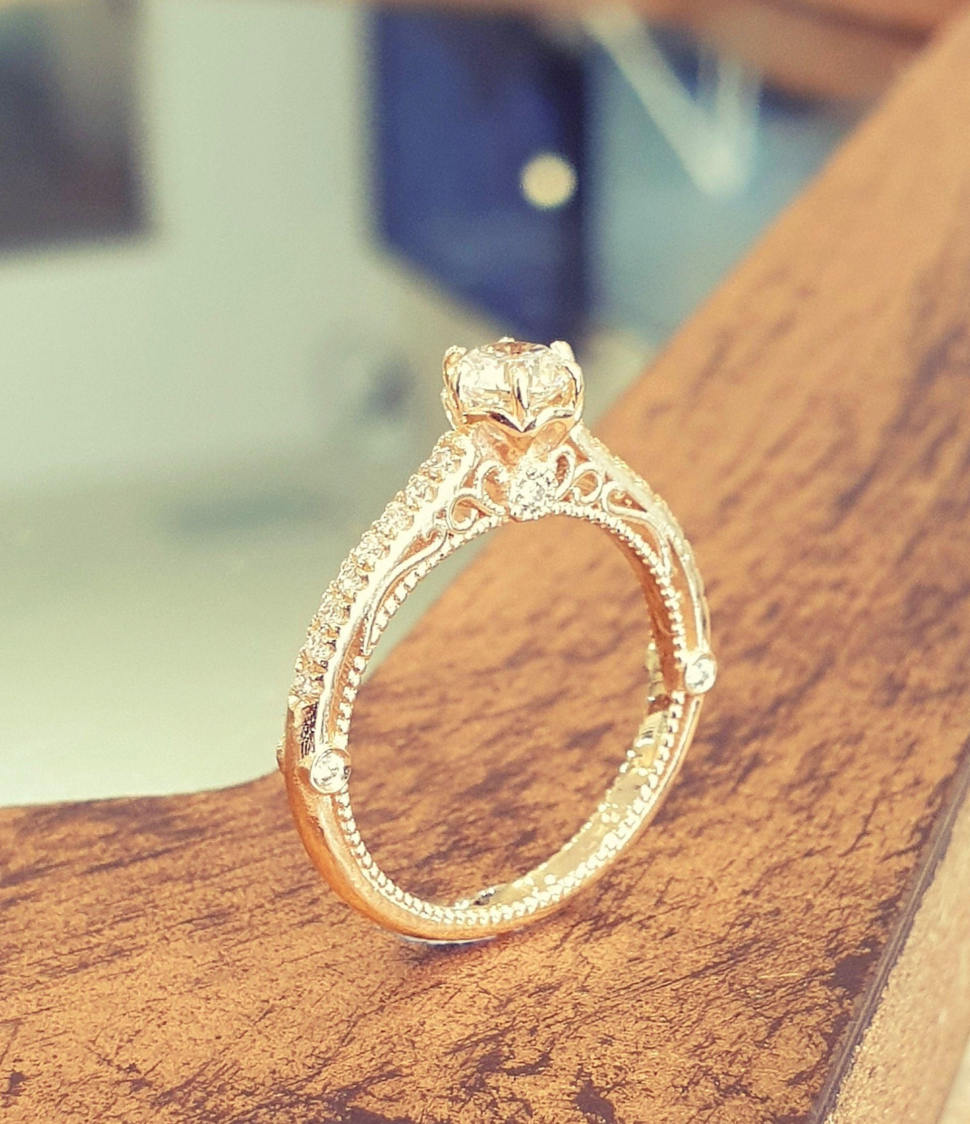Antique Engagement Ring Victorian White Diamond 14K Yellow