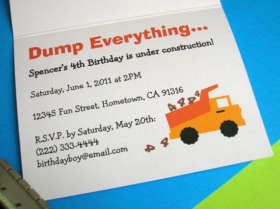 dump truck birthday invitation for construction theme birthday party