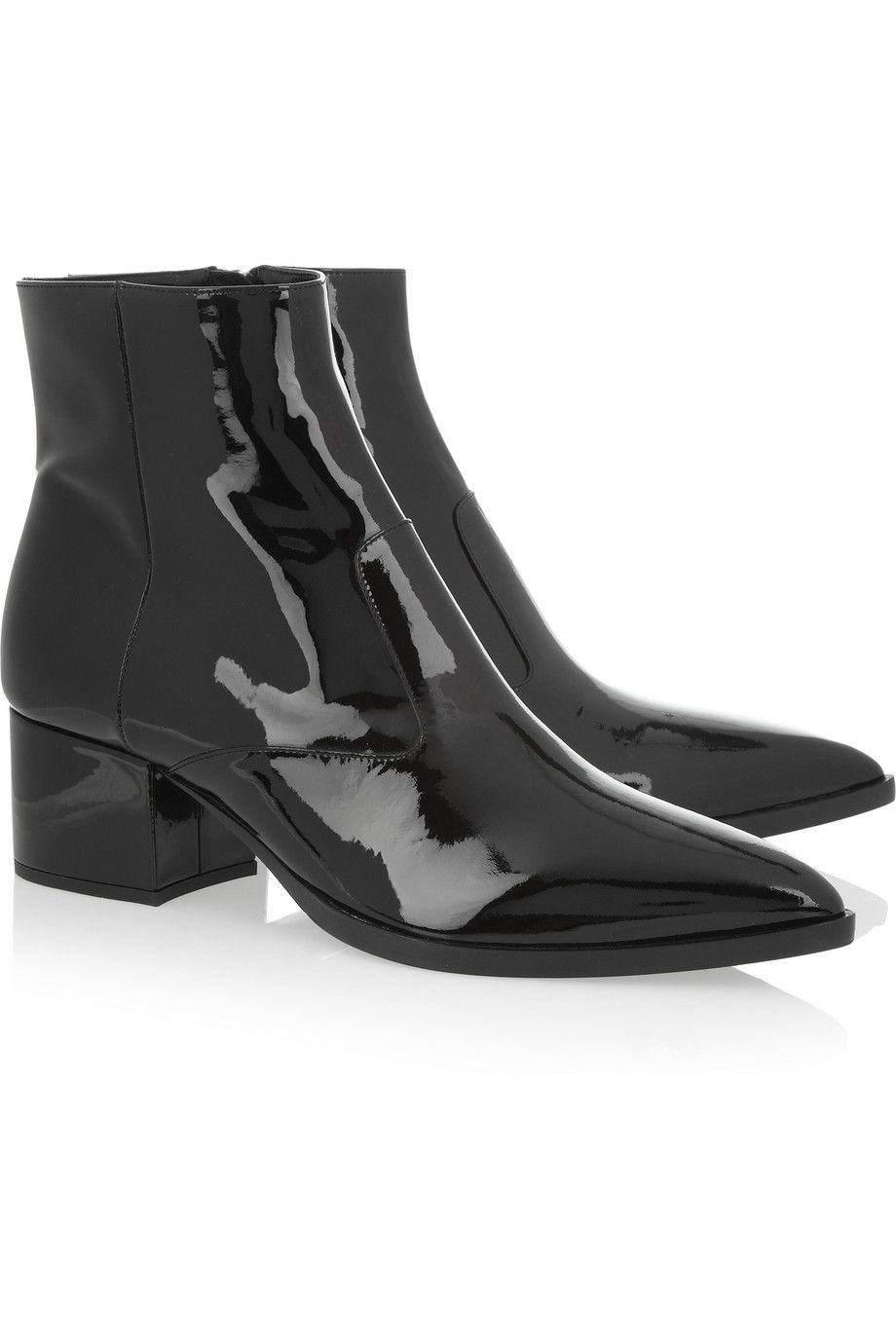 Miu Miu|Patent-leather ankle boots. Shop the Tough Luxe issue of The Edit magazine.