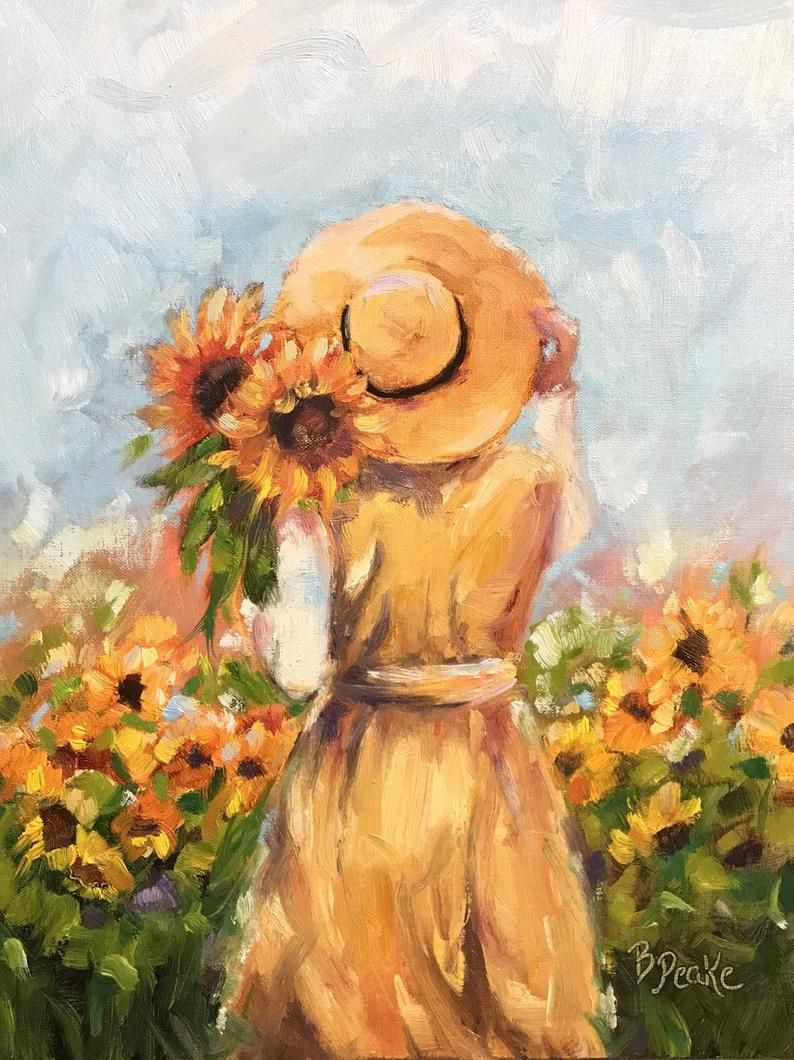 Original Oil Painting Woman In Field Of Sunflowers 11x14 Inch