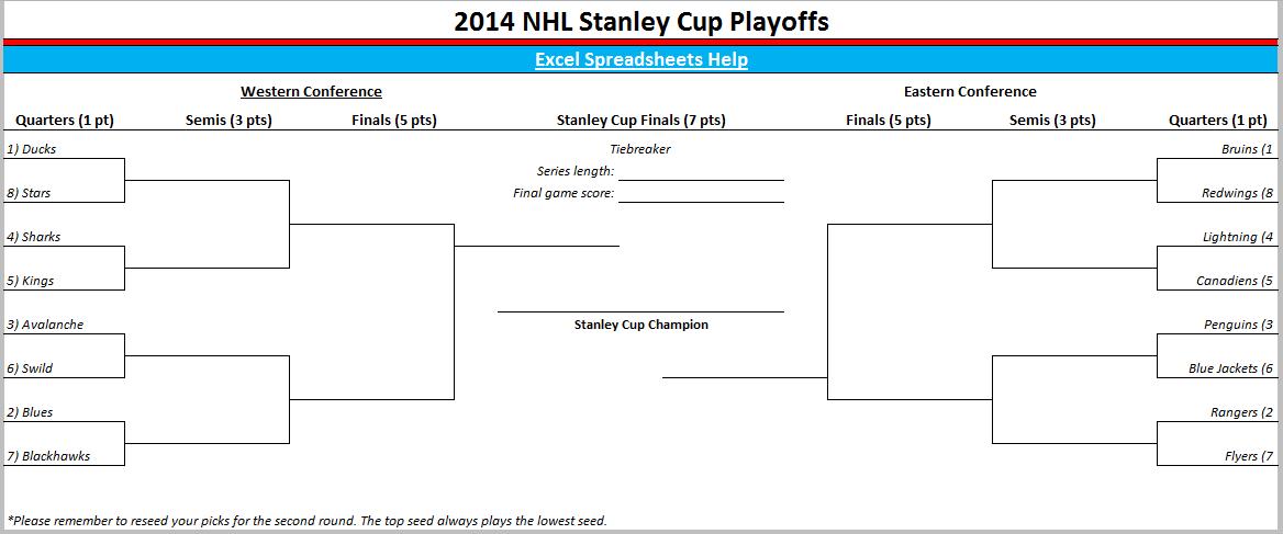 2014 Nhl Playoff Bracket Stanley Cup Playoffs Nhl Playoffs Printable Brackets