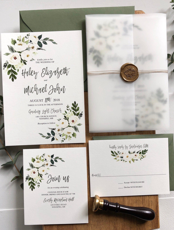 Modern Rustic Garden Wedding Invitation Suite with Vellum Wrap | Etsy | Flower  wedding invitation, Floral wedding invitations, Printing wedding invitations