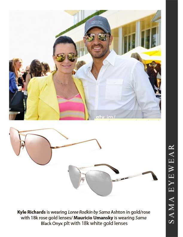 """99038ad4fd39 Kyle Richards of The Real Housewives of Beverly Hills is wearing Loree  Rodkin """"Ashton in rose/gold with 18K rose/ gold lenses :"""