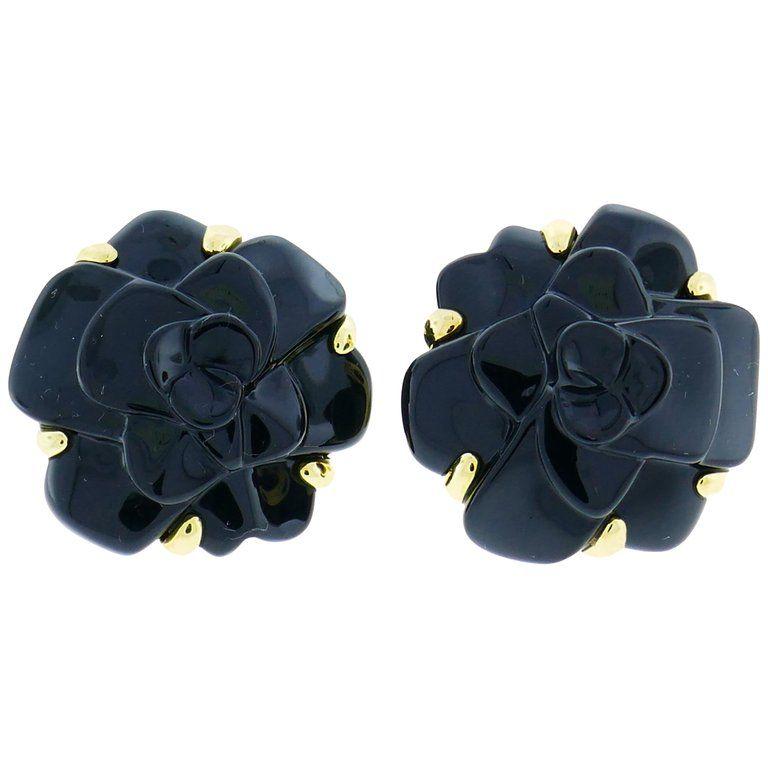 Chanel Black Onyx Gold Camellia Earrings Chanel Black Chanel Camellia Chanel
