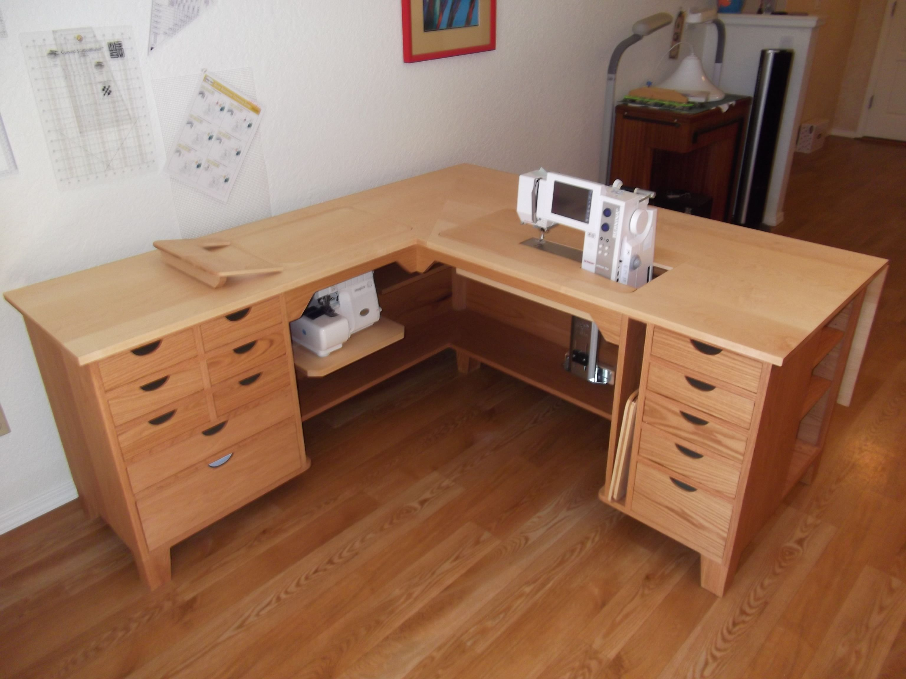 This sewing unit features a Red Oak base with a Maple top ...