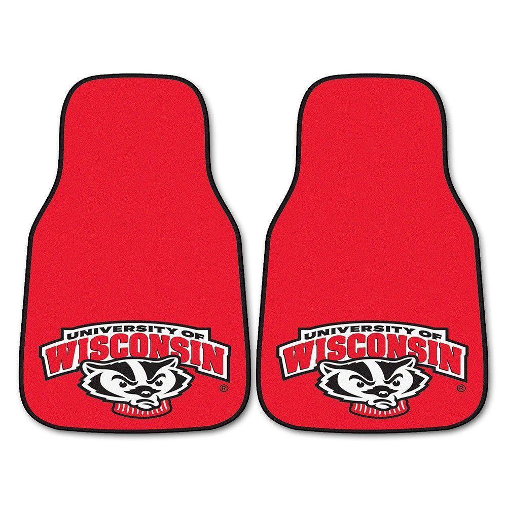 Wisconsin Badgers NCAA Car Floor Mats (2 Front) Badger Logo